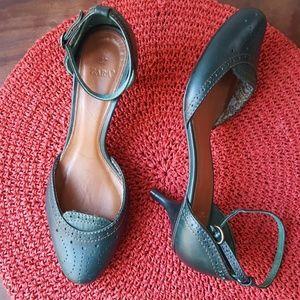 Zara kitten heels. Green with ankle strap. Size  7